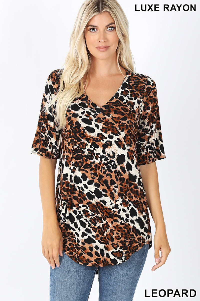 Leopard V-neck Top