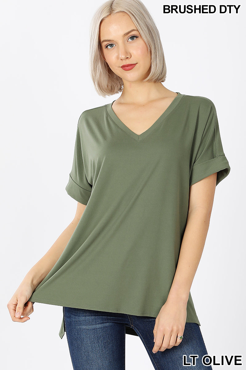 Buttery Soft Oversized cuffed sleeve v-neck | Lt Olive