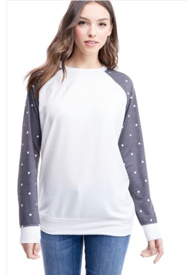 French Terry Polka Dot Top | YOU CAN ADD A LOGO