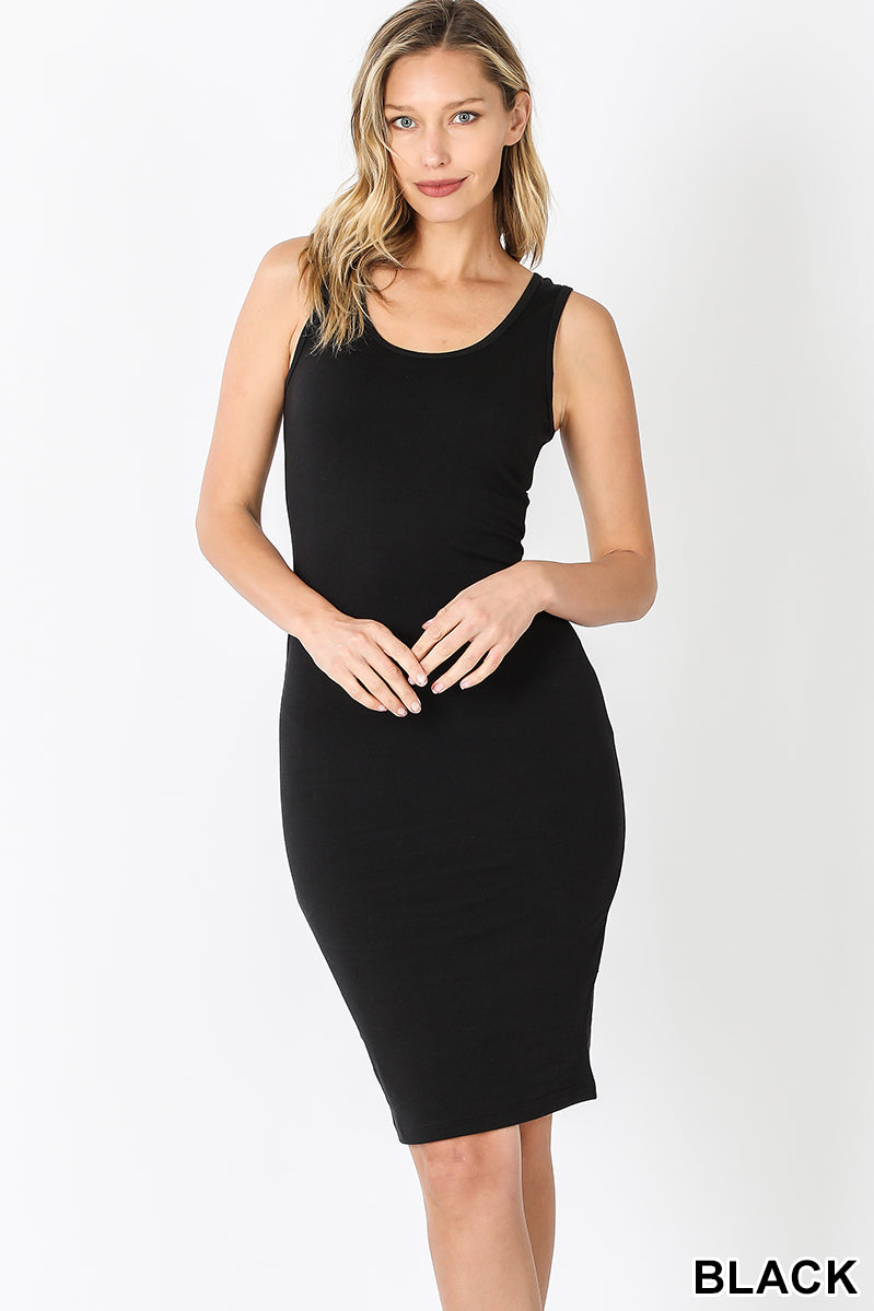 MIDI BODY CON DRESS- BLACK