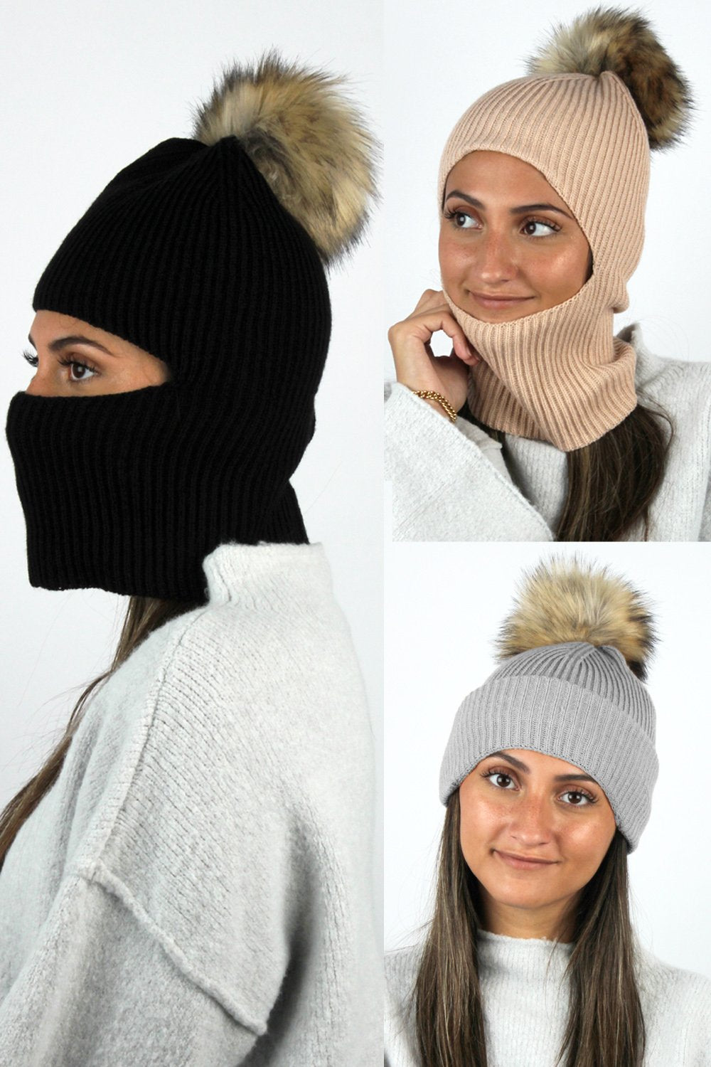 Face Covering Knit Beanie with Faux Fur Pom