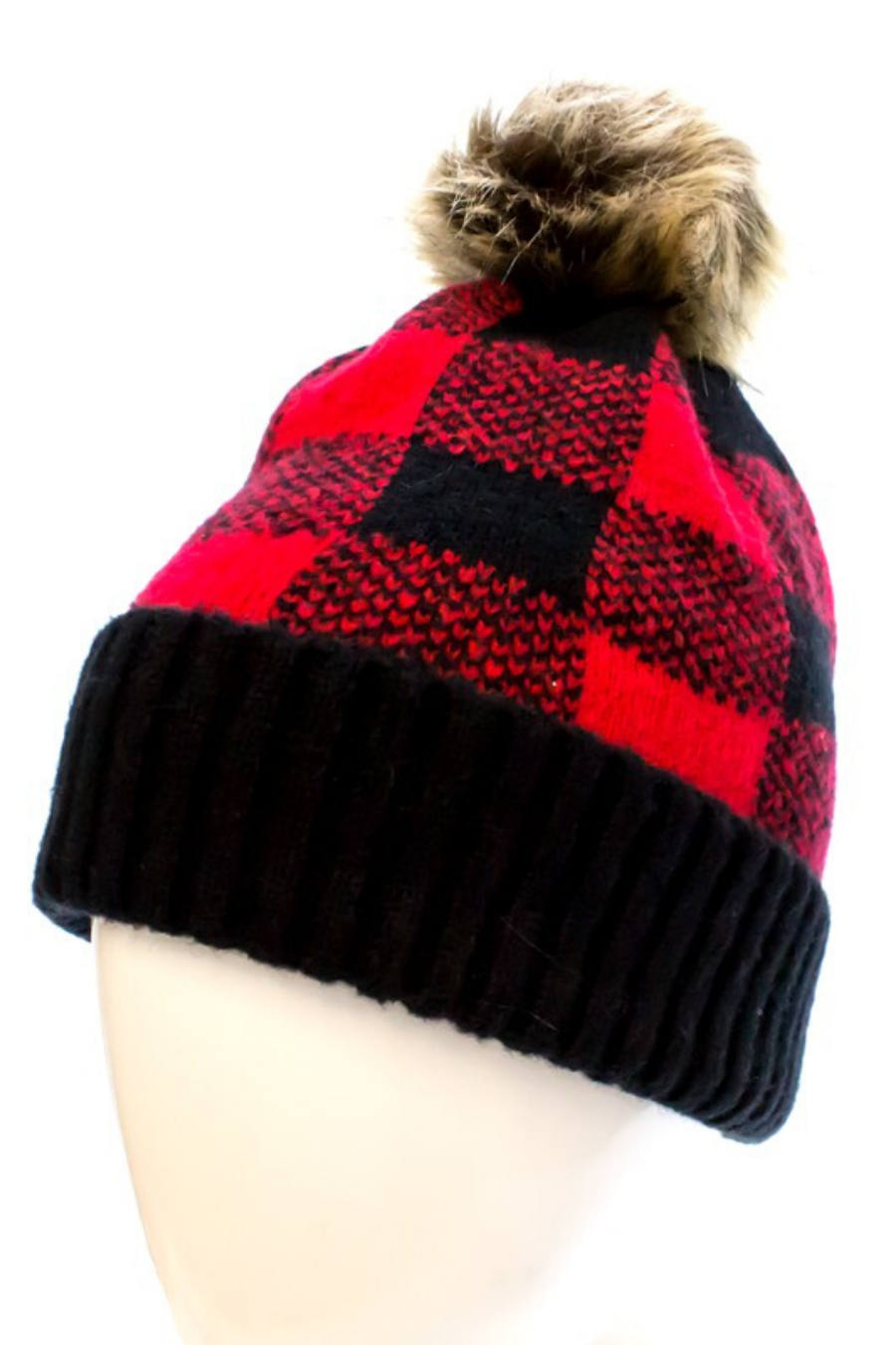 Buffalo plaid hat with removable pom