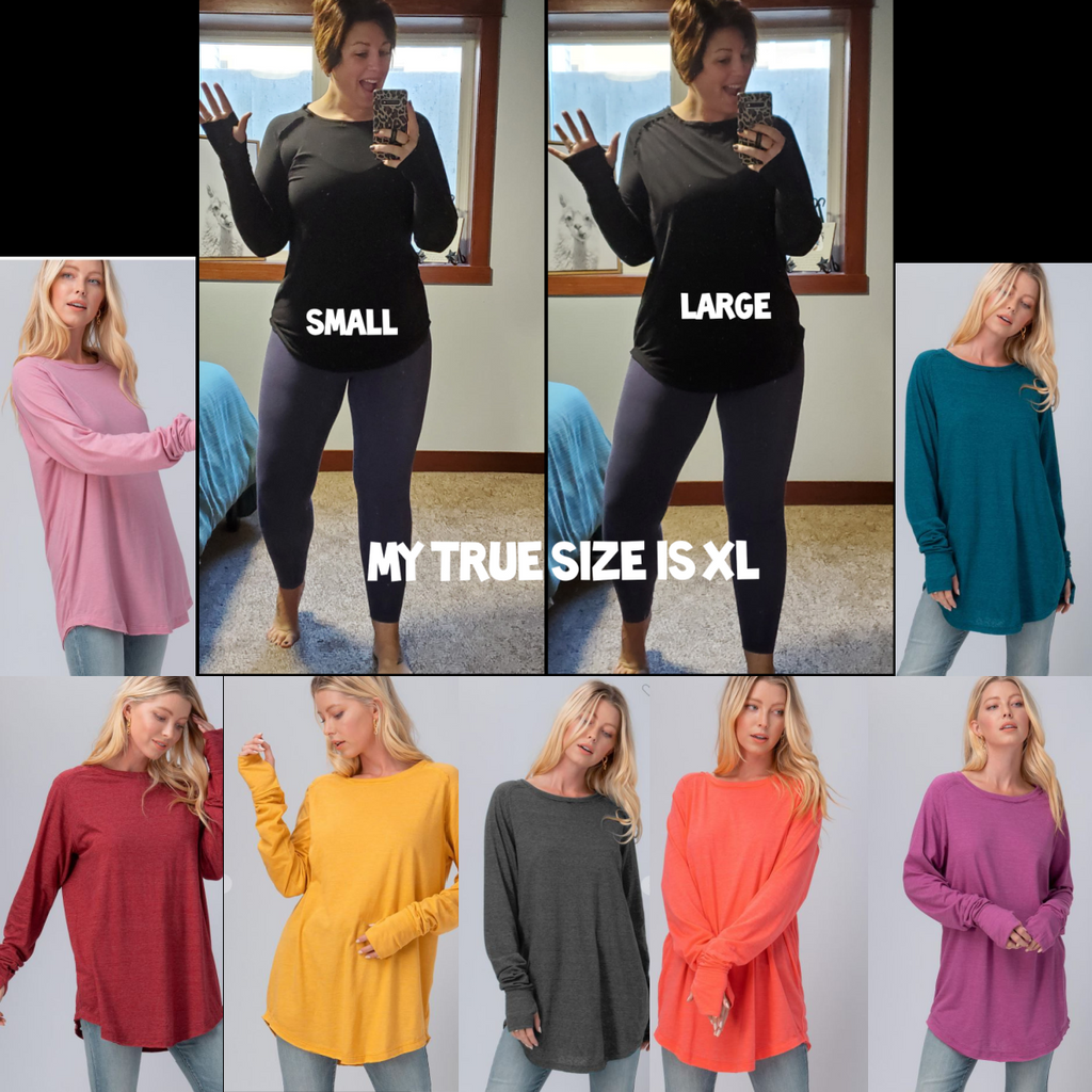 Oversized tunic Tees with Thumbholes | 8 Colors