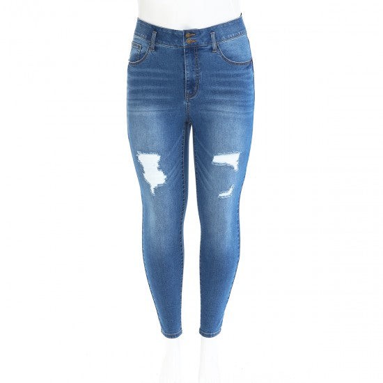 HIGH-RISE ELASTIC STRETCH DESTRUCTED TUMMY CONTROL SKINNY JEAN