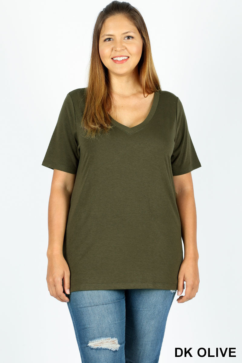 SHORT SLEEVE V-NECK TEE | 5 colors