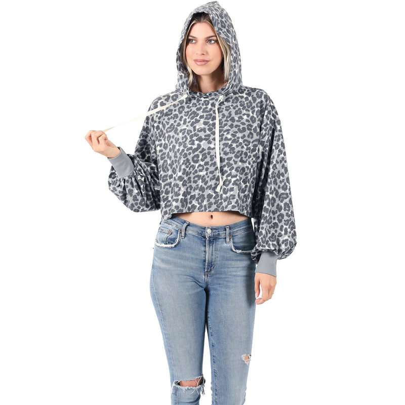 French Terry Leopard Crop Hood | 2 colors