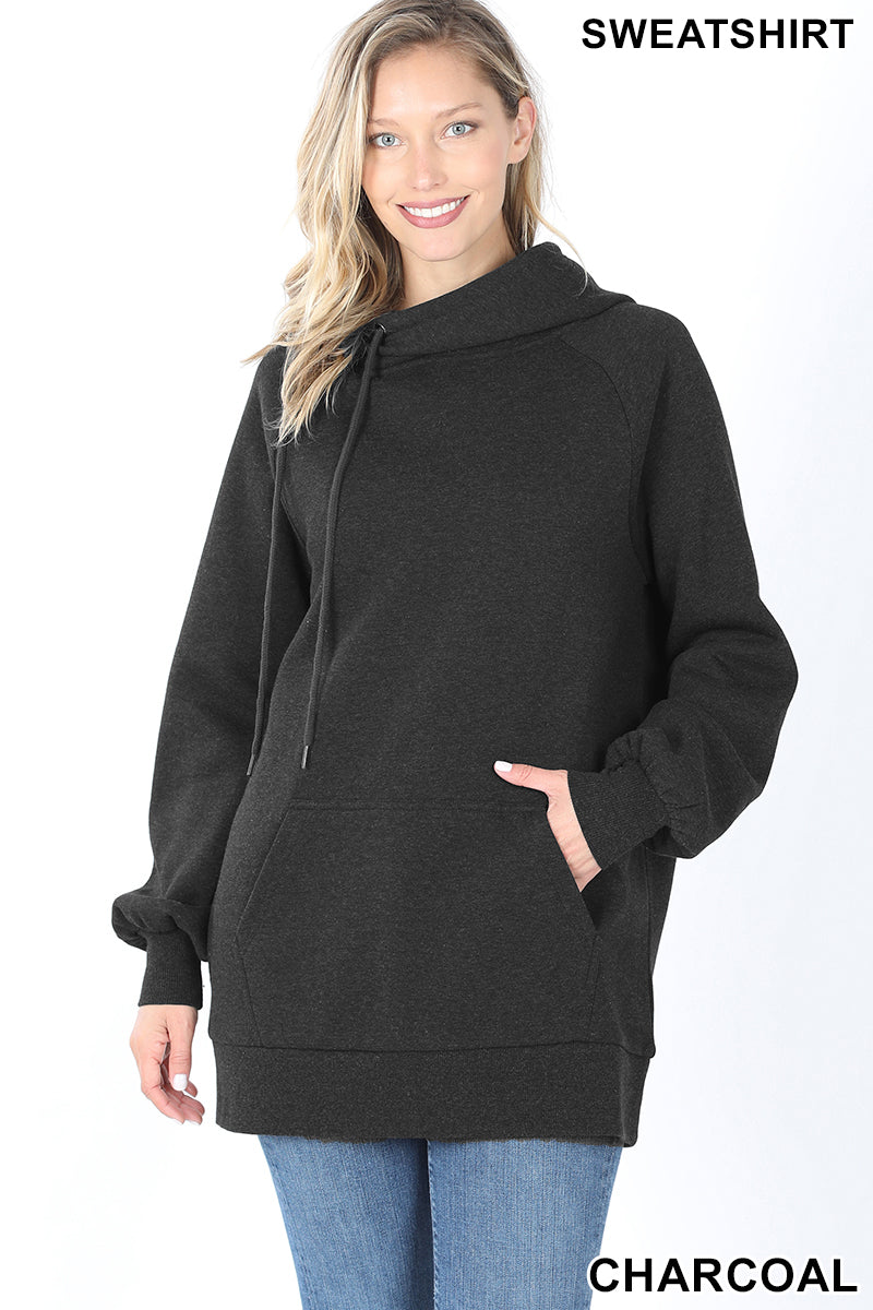 Oversized side tie Hoodie | Charcoal