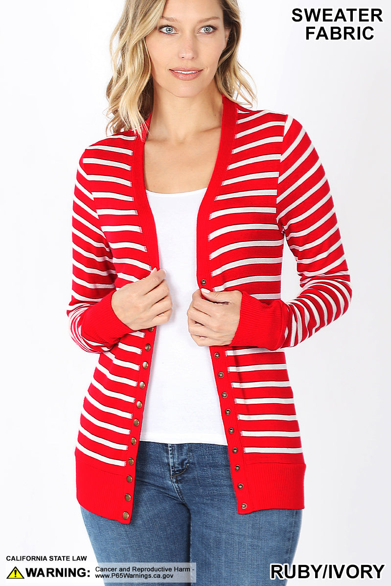 Red and White Stripe Cardi