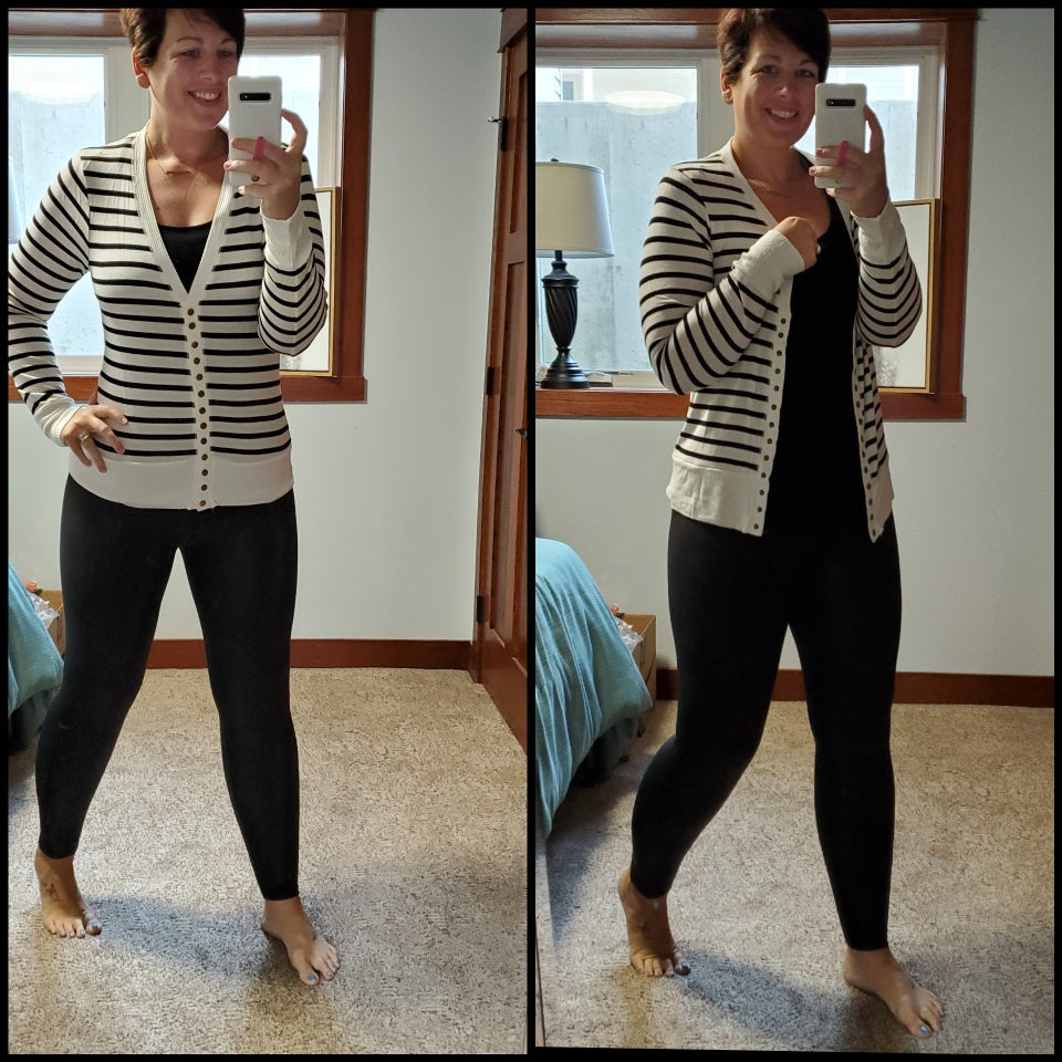 Ivory and Black Stripe Cardi