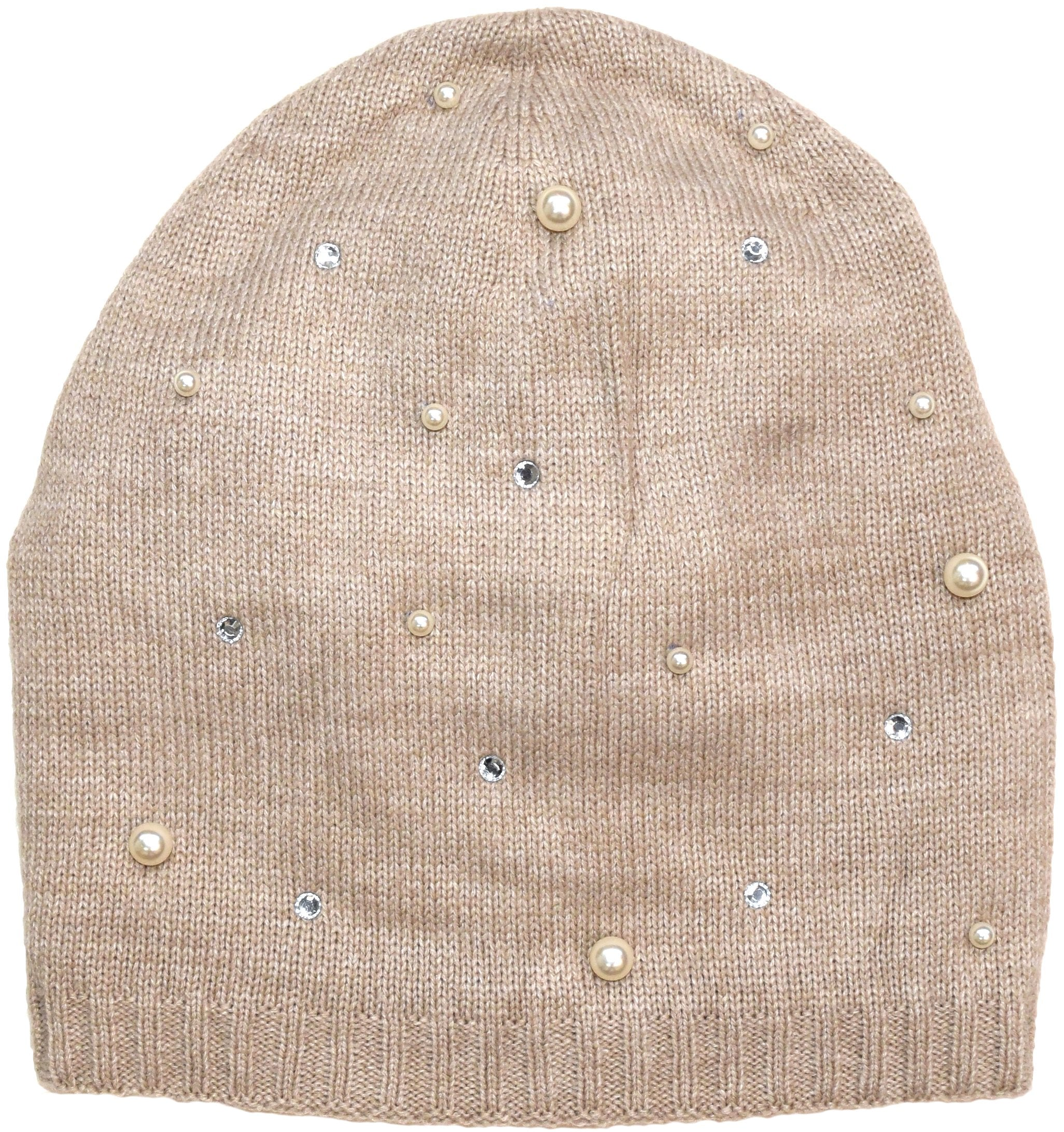 Lined Knit Hat Embellished with Faux Pearls