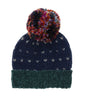 Birdseye Mixed Media Acrylic Polyester Knit Beanie with Oversized Pompom