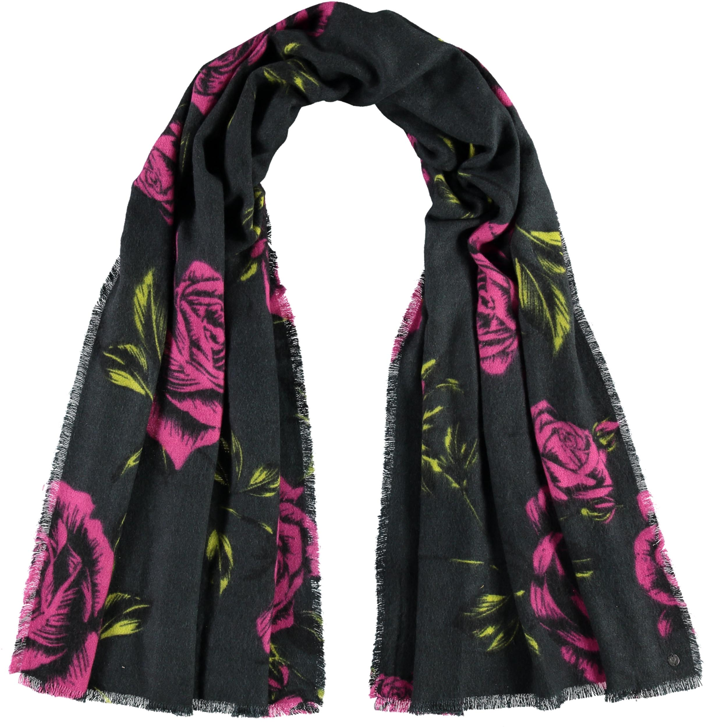 Rose Bouquet Printed Acrylic Wrap Scarf