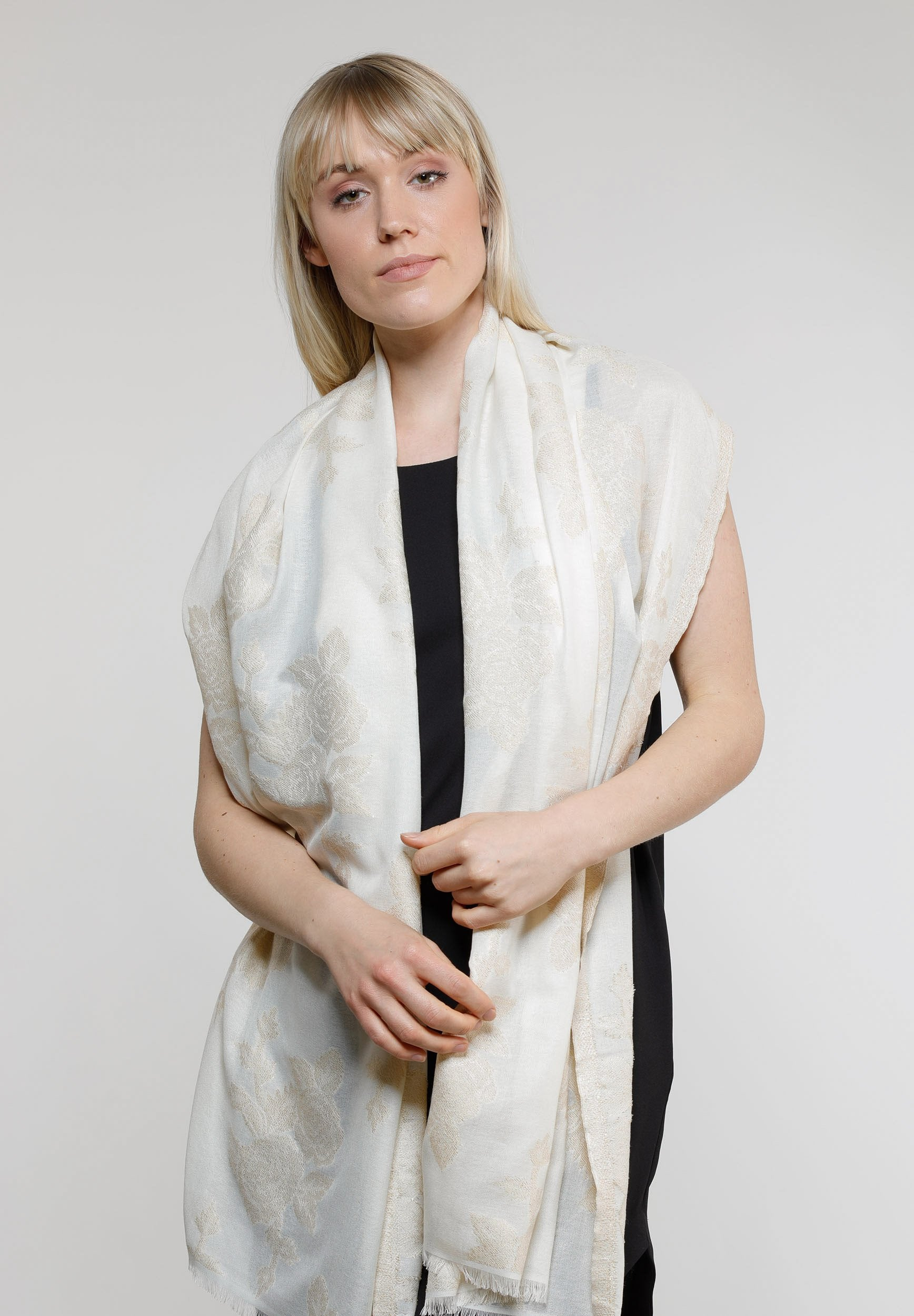 Shimmer Floral Woven Wrap