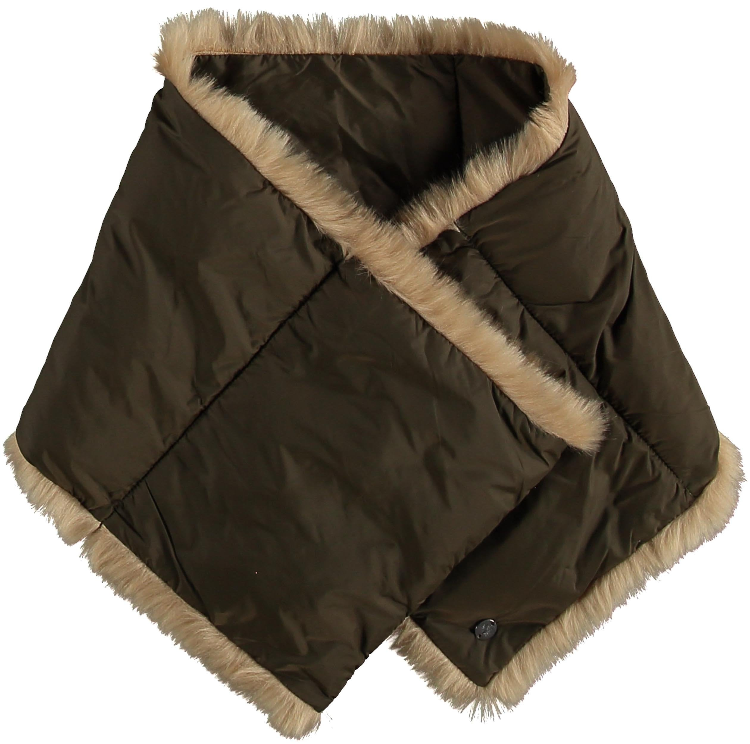 Puffa Solid Colour Polyfil Pull Through Scarf with Faux Fur Trim