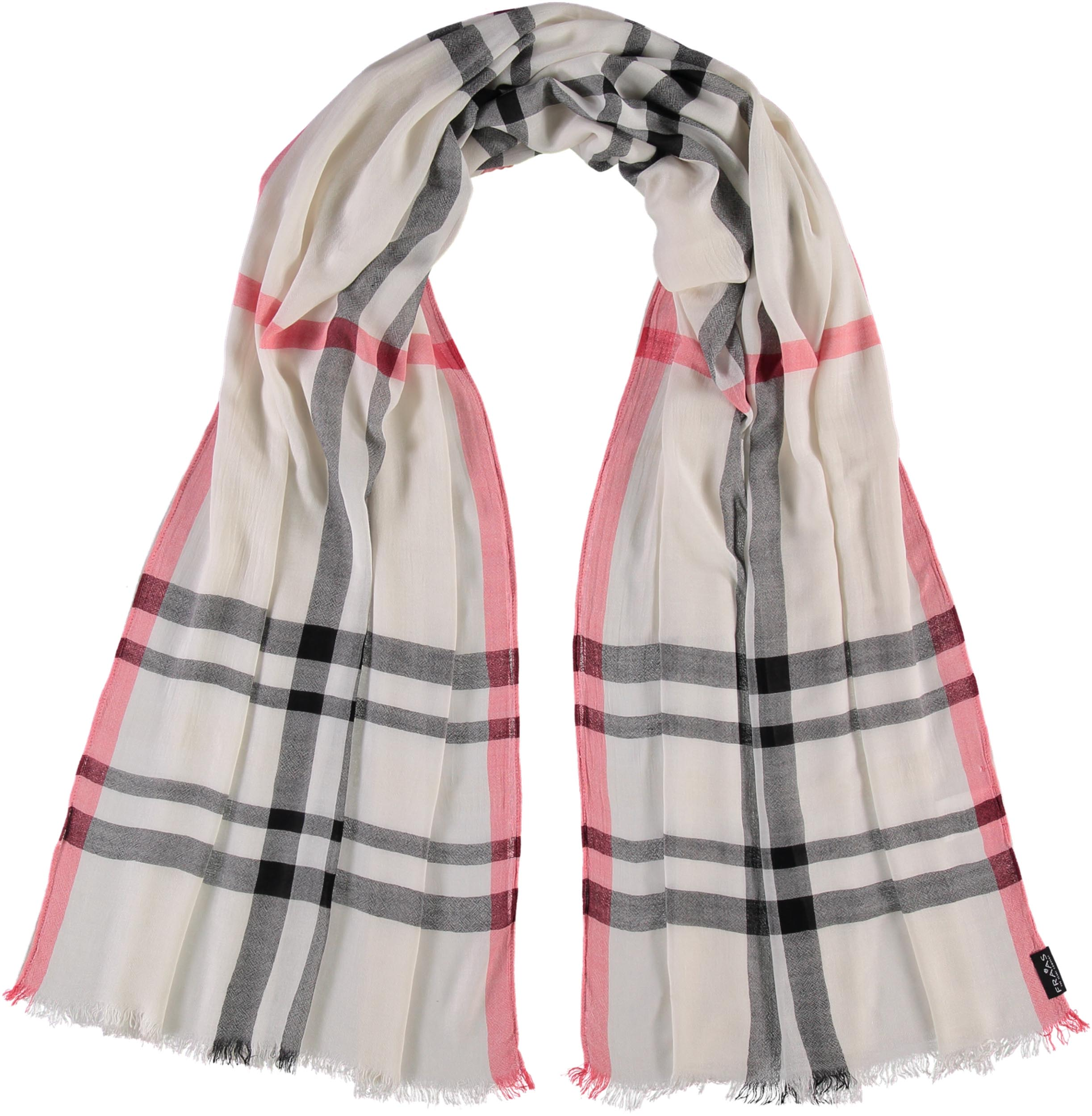Fraas Plaid Lightweight Viscose Woven Scarf Wrap