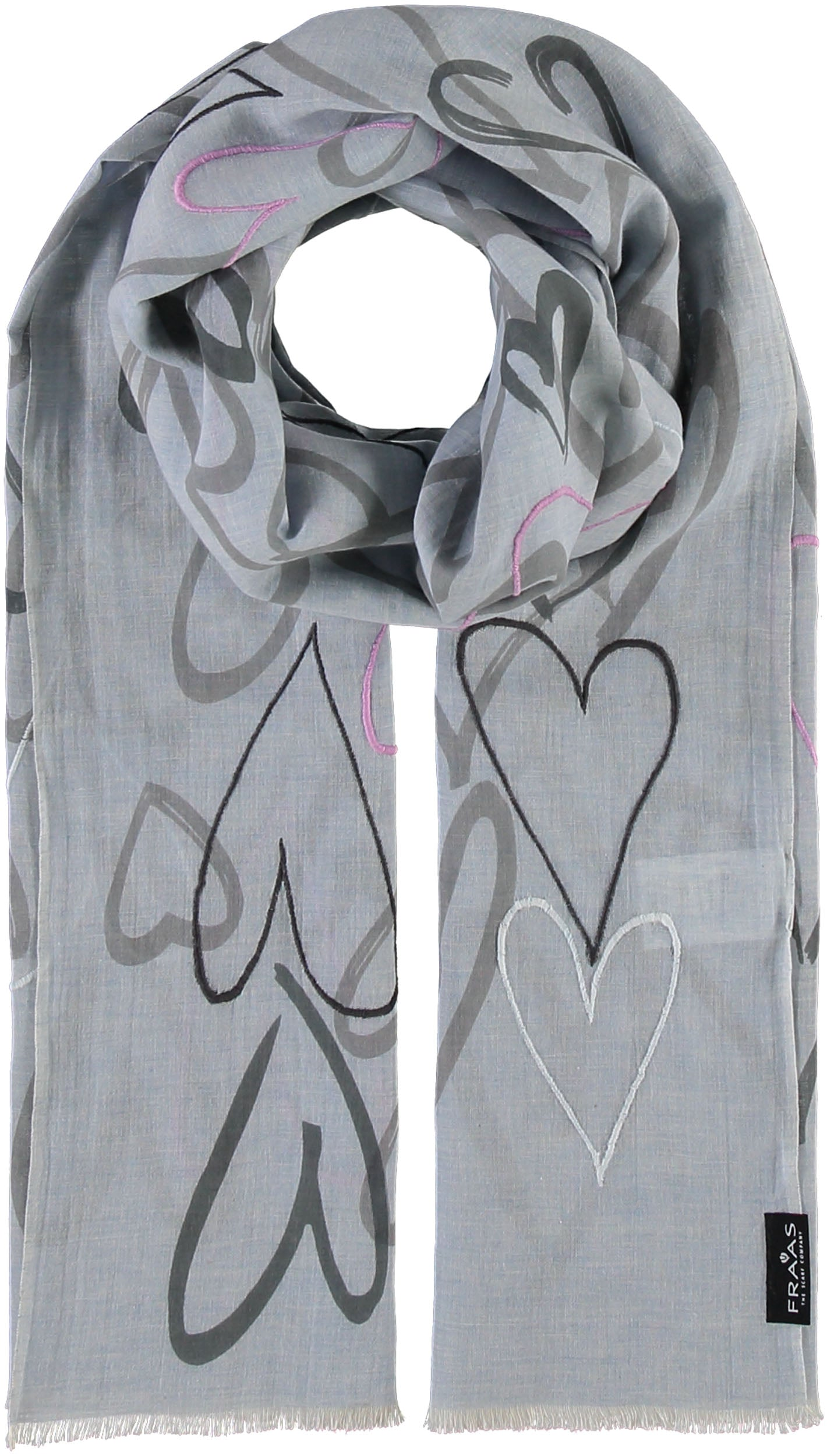 Embroidered Hearts Printed Cotton Scarf
