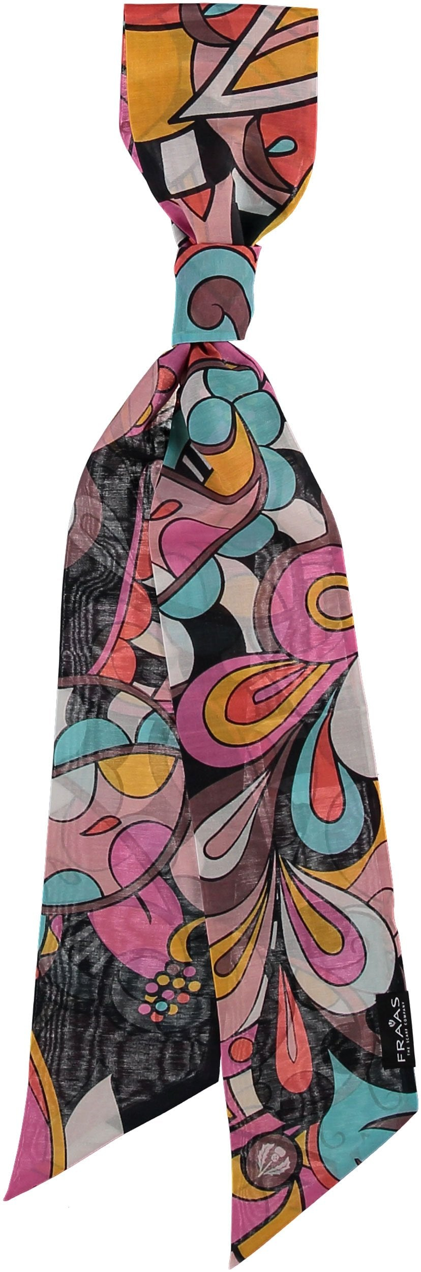 Flower Power Skinny Tie Print Scarf in Cotton Silk Blend