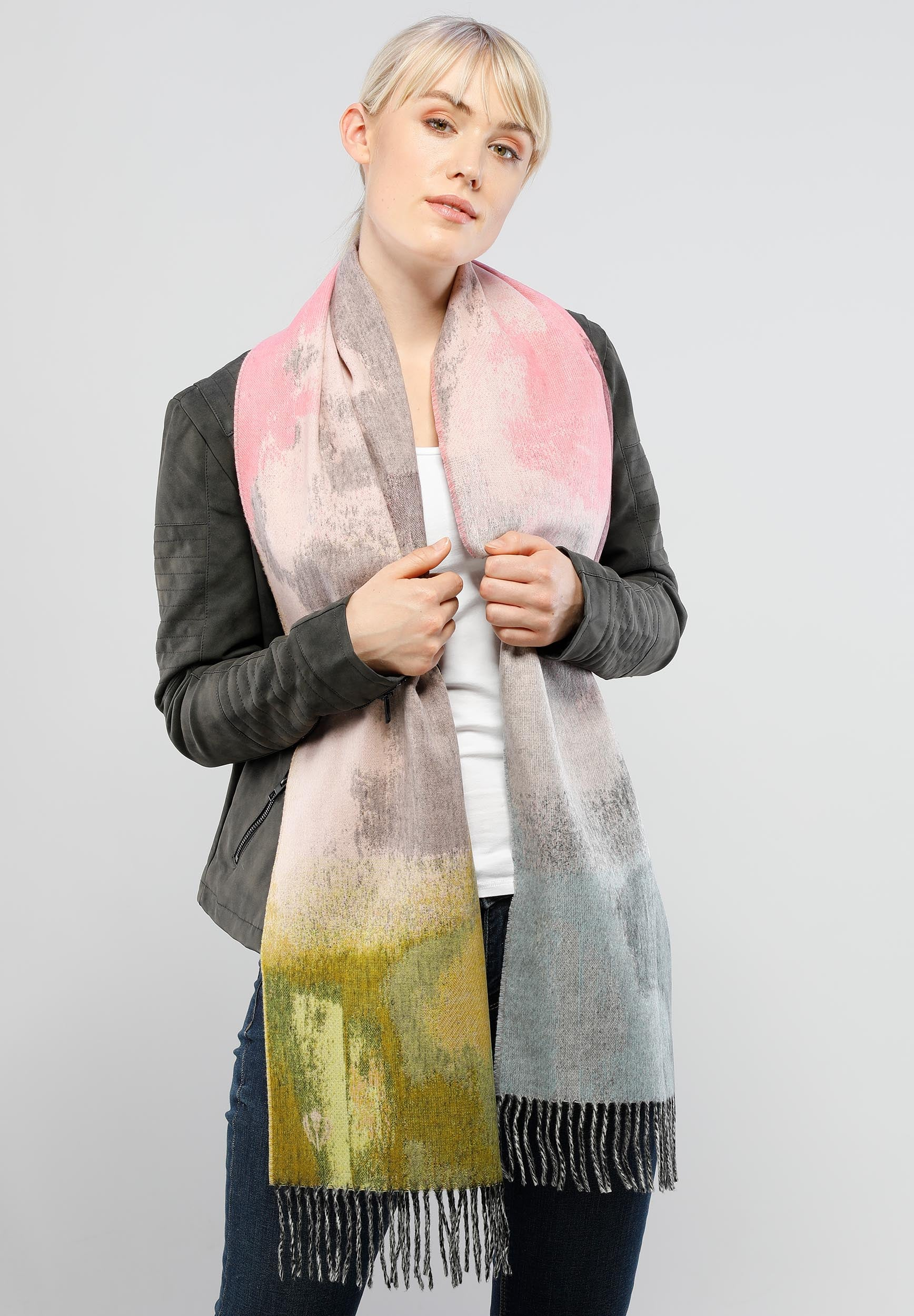 Artistic Abstract Woven Cashmink® Scarf