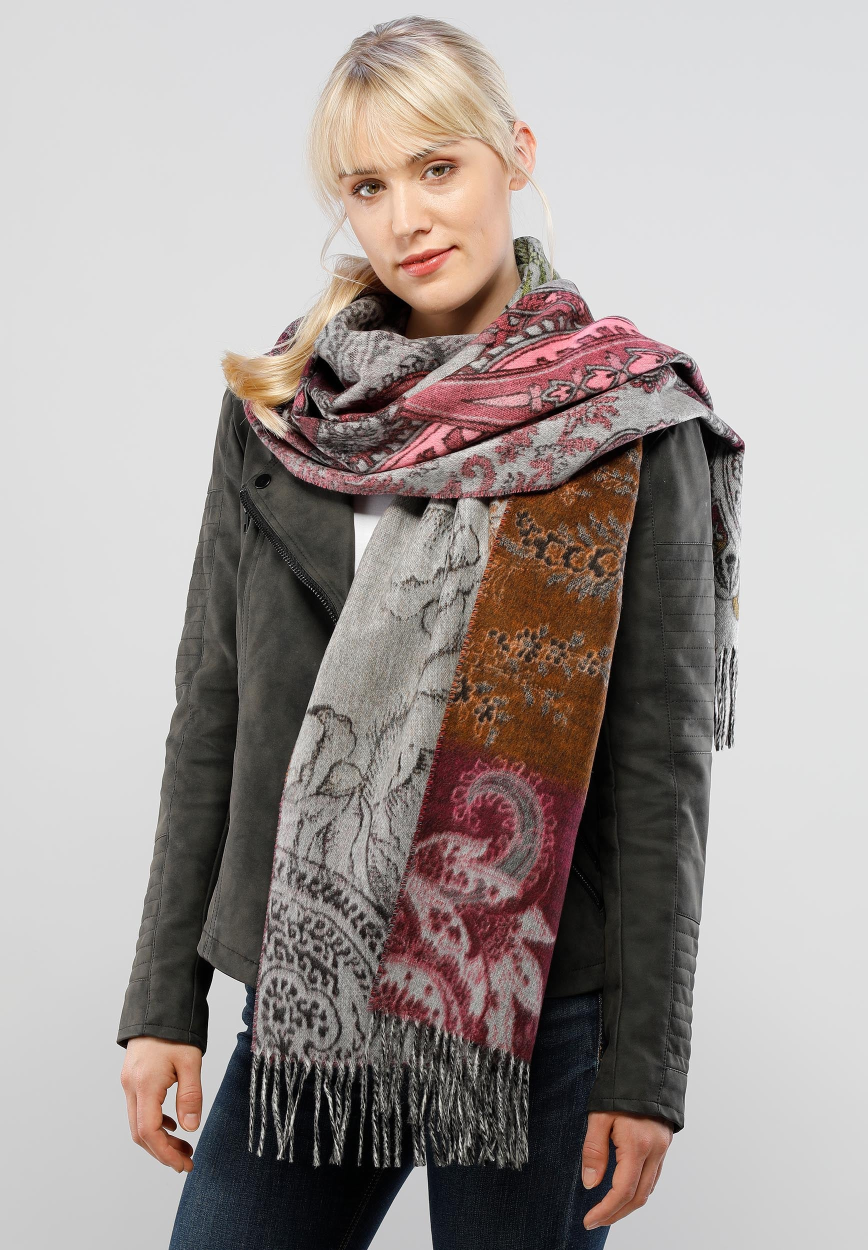 Sketched Paisley Oversized Woven Cashmink® Wrap Scarf