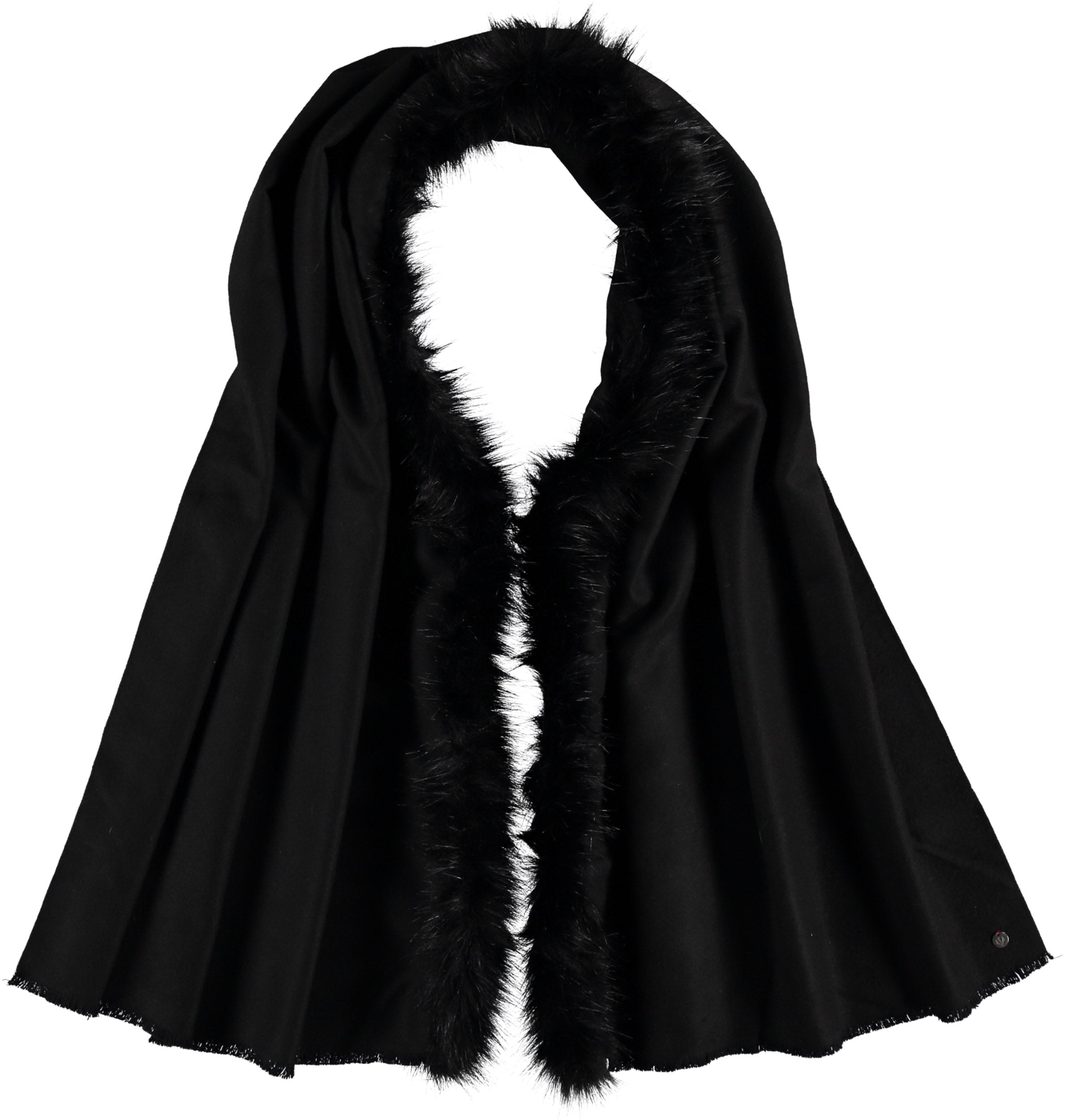Soft Stretch Woven Wrap with Faux Fur Trim