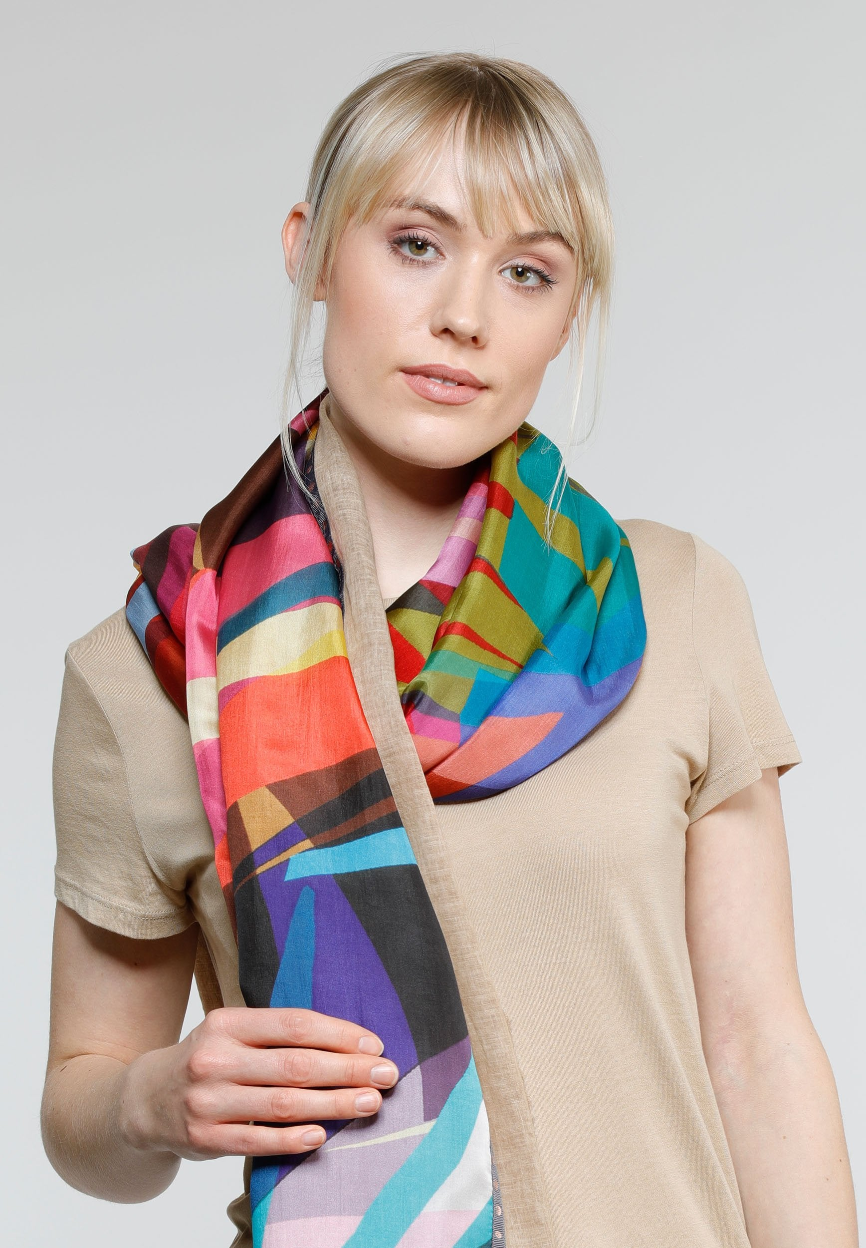 Matrix Cold Dyed Patchwork Cotton Silk Wrap