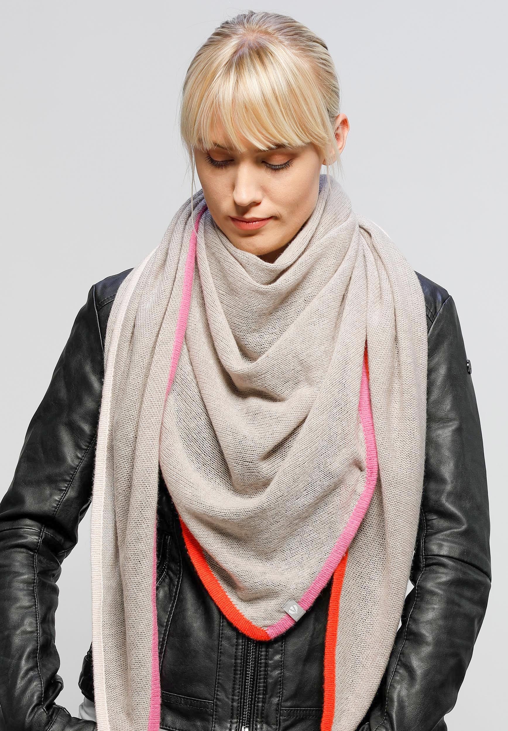 Signature Colour Border Cashmere Wool Knit Triangle Scarf