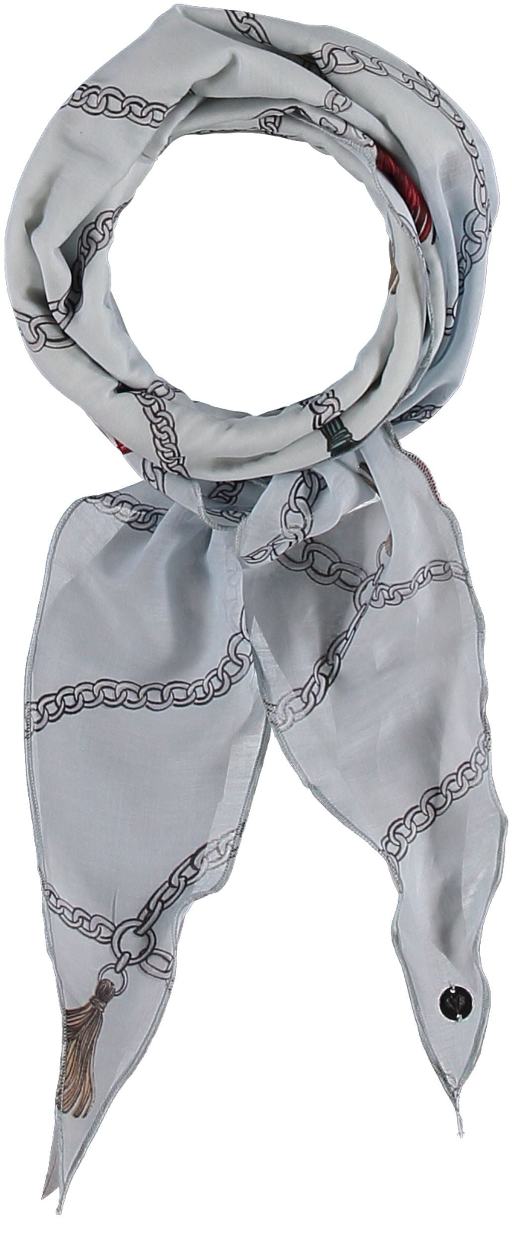 Tassels In Frills Cotton Silk Print Narrow Diamond Scarf