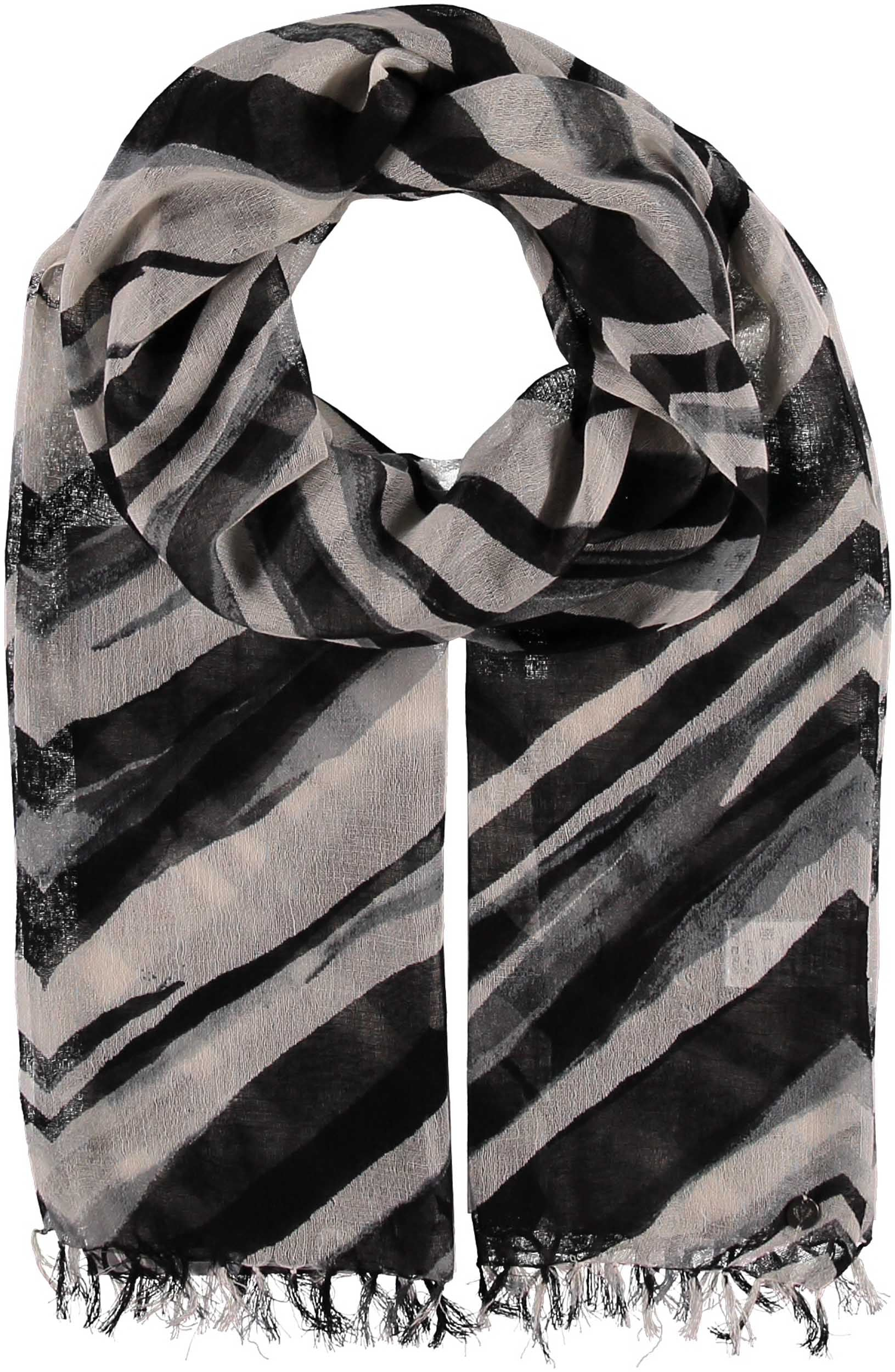 Animal Stripes Cotton Linen Wool Blend Print Scarf
