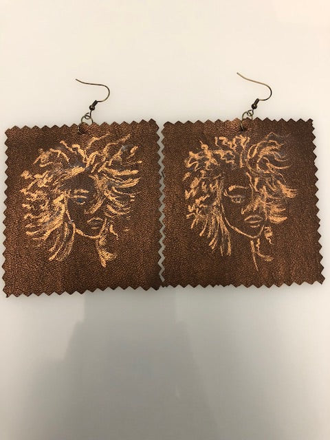 Golden Beauty Painted Vegan Leather Earrings