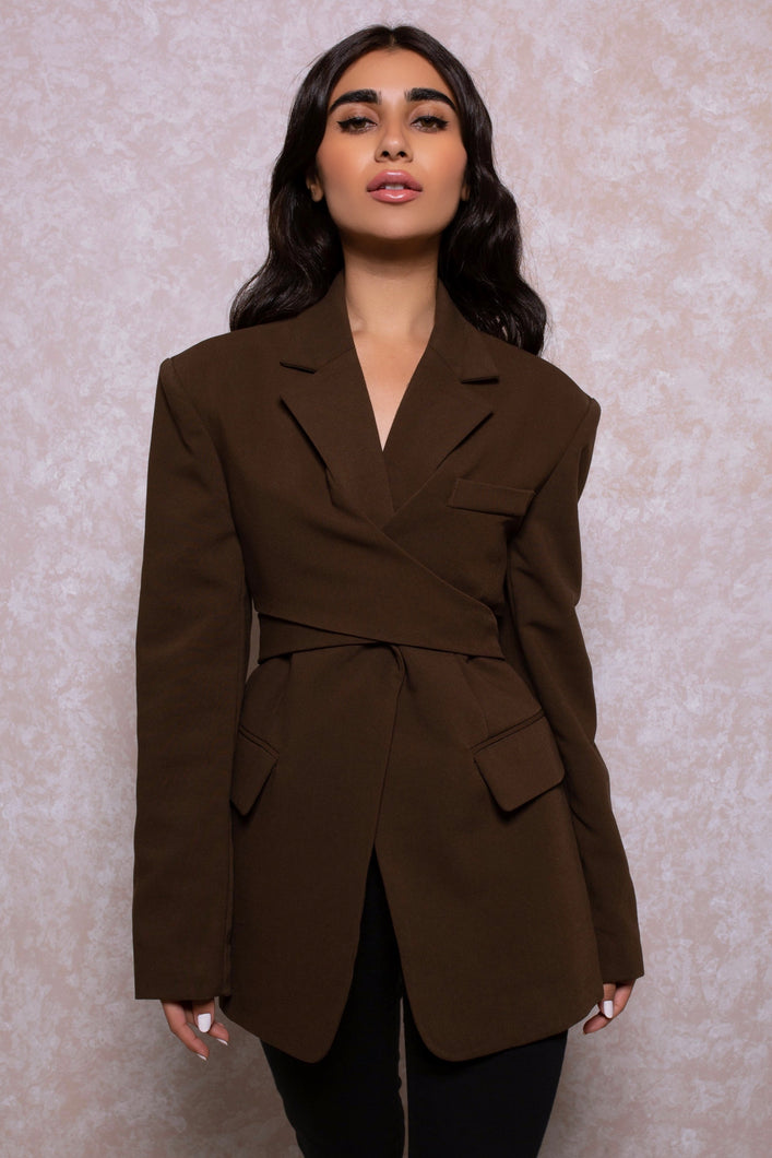 Shoulder Padded Wrap Blazer in Chocolate (PRE-ORDER)