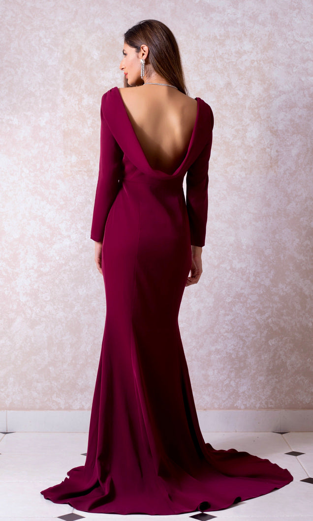 Cowl Back Fishtail Gown
