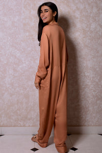 Lounging Onesie with Oversized Pockets in Caramel