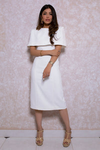 Crepe Pencil Dress with Cape in Ivory