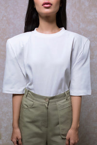 Premium Detachable Shoulder Pad Tee in White