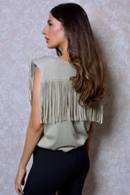 Load image into Gallery viewer, Fringed Shoulder Pad Muscle Tee in Green Khaki
