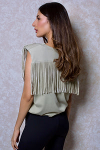Fringed Shoulder Pad Muscle Tee in Green Khaki