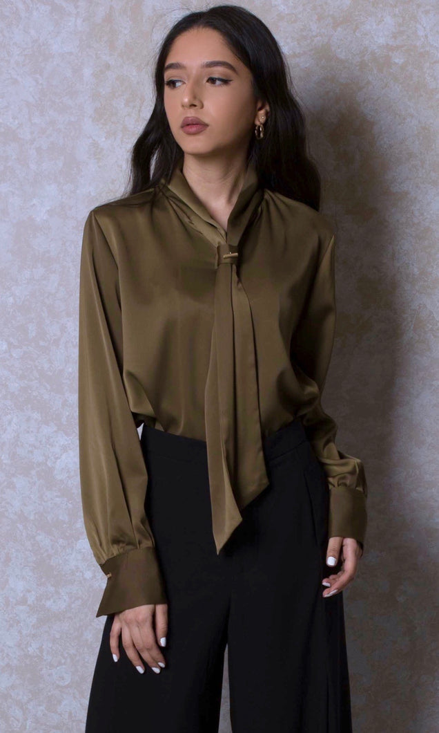 Tie Neck Satin Blouse