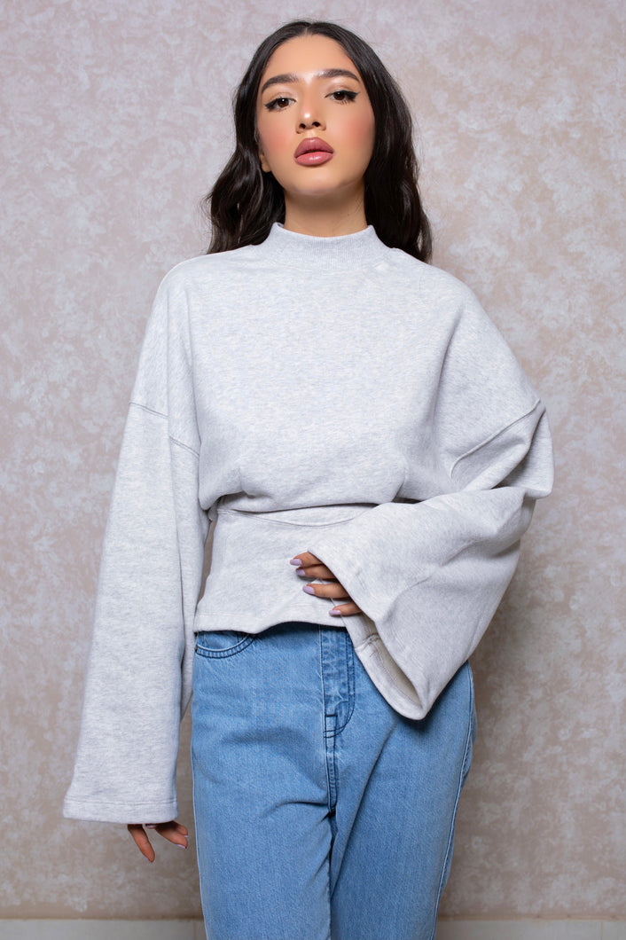 Cinched Waist Lounge Sweatshirt in Cloud Grey