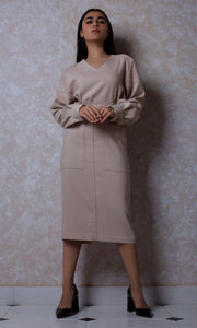 Utility Pocket Dress with Shoulder Pads