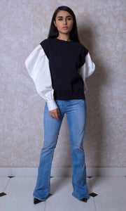 Monochrome Knit Blouse with Contrast Sleeves