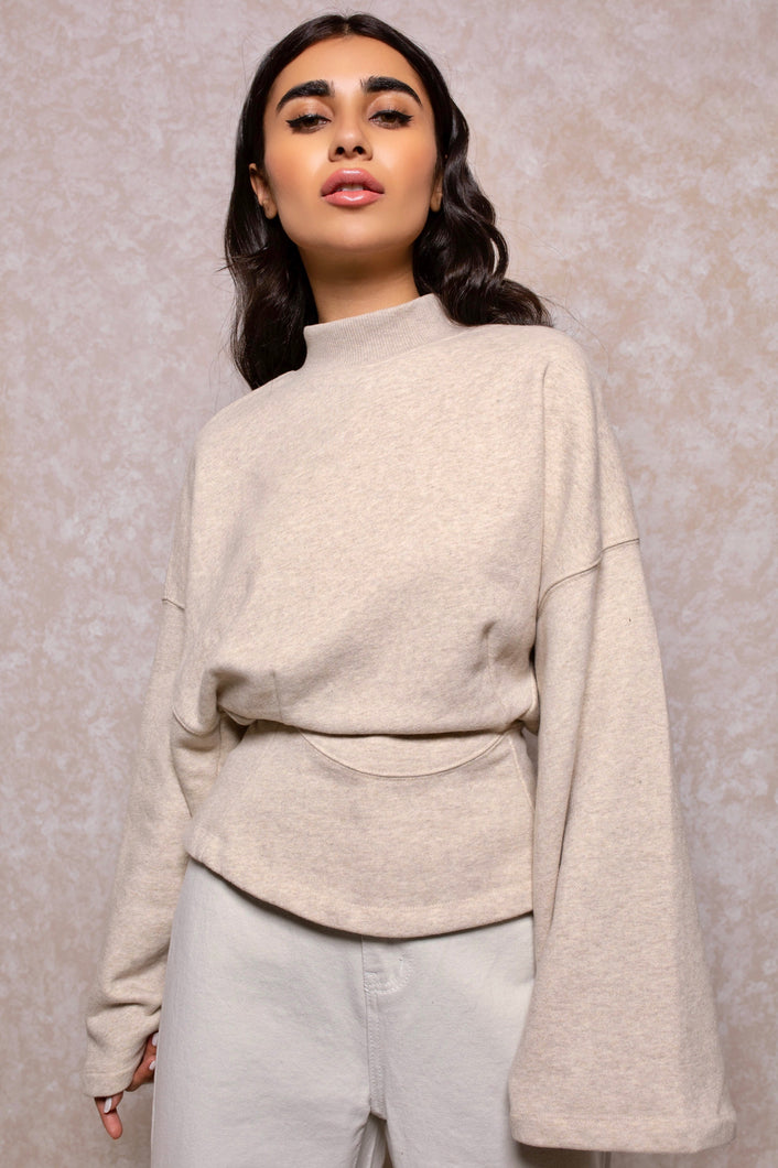 Cinched Waist Lounge Sweatshirt in Champagne
