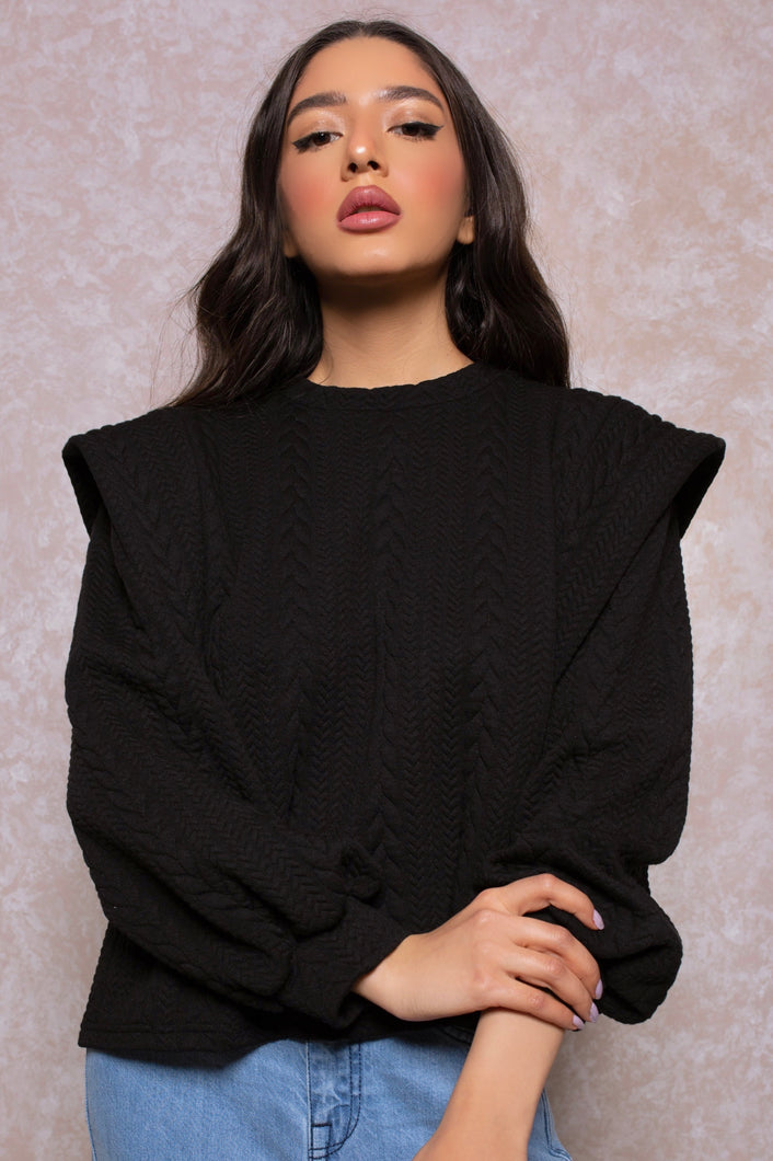 Braided Sweatshirt with Layered Shoulders in Noir