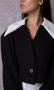 Oversized Cropped Wool Jacket with Leather Collar