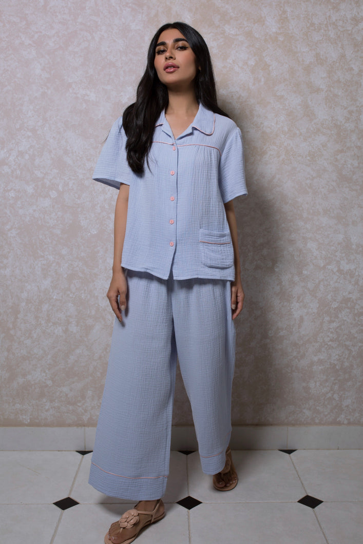 Gathered Short Sleeve Loungewear Set in Lavender