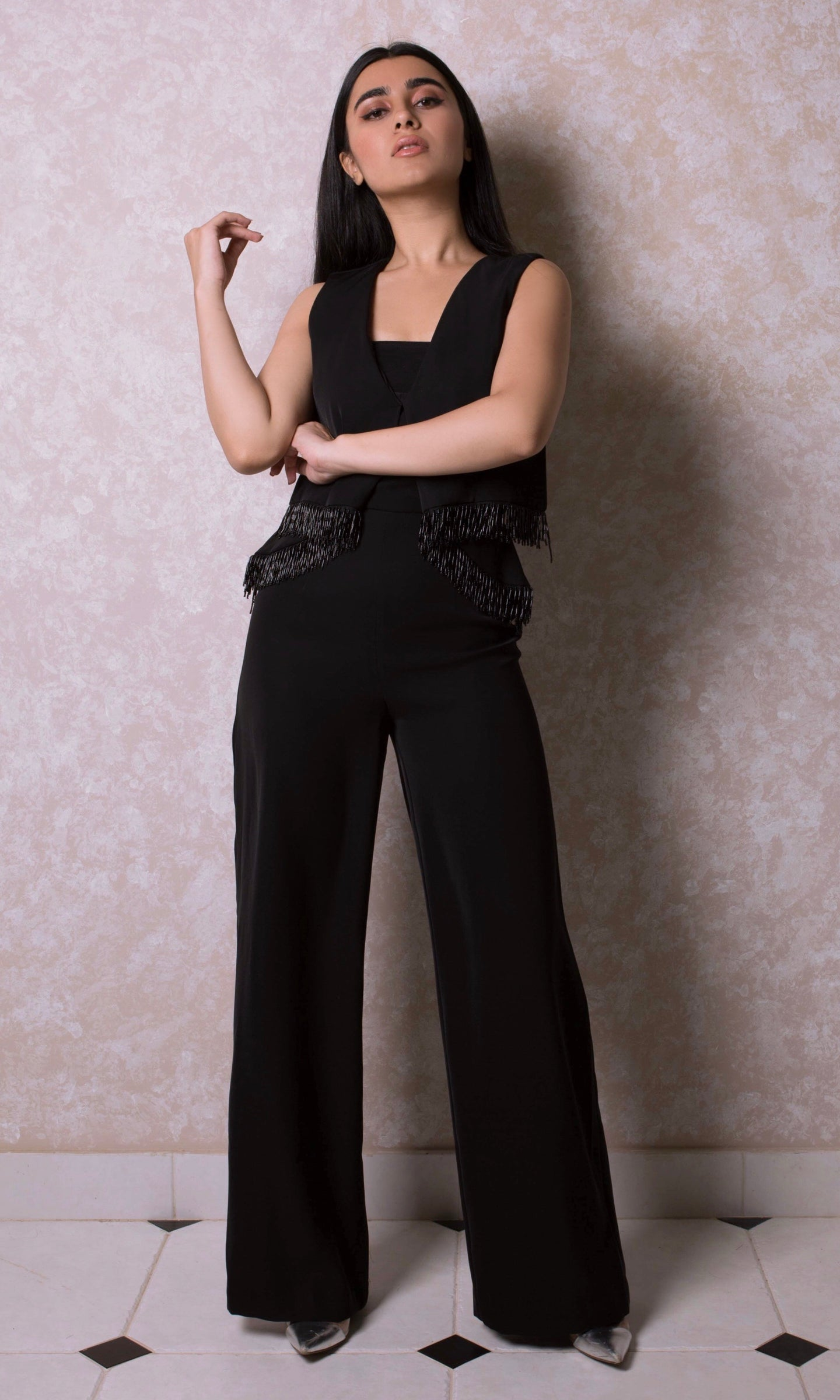 Beaded Wide Leg Jumpsuit