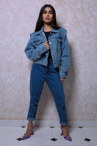 Shoulder Padded Denim Jacket