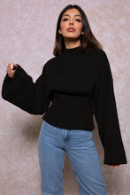 Load image into Gallery viewer, Cinched Waist Lounge Sweatshirt in Black