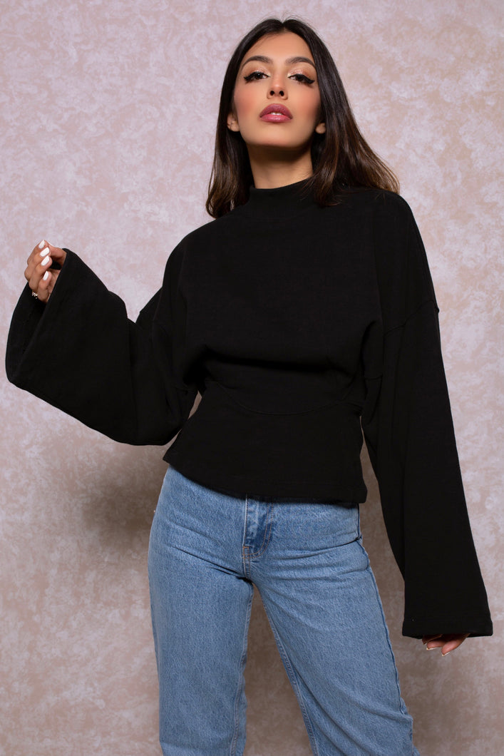Cinched Waist Lounge Sweatshirt in Black