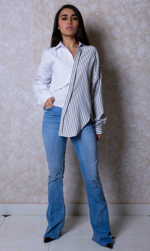 Asymmetric Layered Stripped Shirt