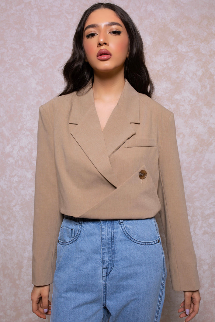 Origami Cropped Blazer in Sand